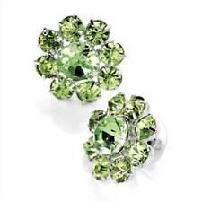 New Silver Tone Peridot Green Crystal Flower Stud Earrings ER20769