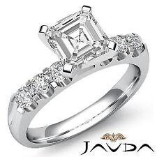 Asscher Diamante Diseñador Pavé Anillo de Compromiso GIA i VS2 14k Oro Blanco
