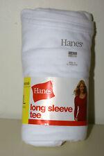 Womens LARGE Long Sleeve WHITE Hanes Tshirt 12-14