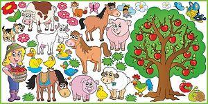WANDTATTOO für KINDER FARM Pferde Schwein Ziege Wanddekoration Aufkleber SET 2