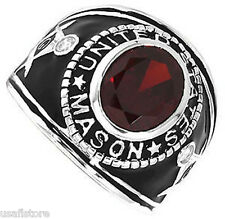 Masonic US Red Oval Stone .925 Sterling Silver Mens Ring Size 7