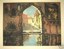 Rene Pottier 1930 aquatint Venice canal