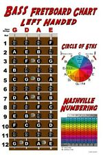 Left Handed 4 String Bass Fretboard Wall Chart Poster Lefty Notes Theory