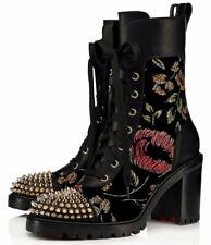 Christian Louboutin TS Croc 70 Black Floral Velvet Spike Combat Ankle Boot 37