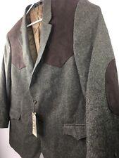 Red Sky Western Mens 50 R Sport Coat Blazer Jacket Brown Taupe Microsuede Wool