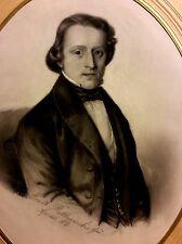 ERNST RETHWISCH ,German School , Drawing on Paper, Portrait,Dated 1853, Signed