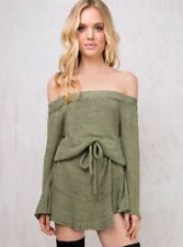 OAKHAMPTON OFF THE SHOULDER KNIT DRESS S/M OLIVE Worn Once