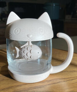 Cute Pink Cat Glass Cup Tea Mug With Fish Infuser Strainer Filter