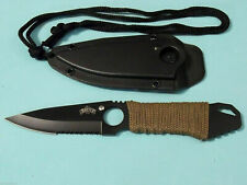 """MASTER MU1121GN Neck Knife Black part serrate fixed blade 6 7/8"""" overall M4240"""