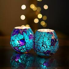 Moroccan Turquoise Glass Crackle Mosaic Candle Holder Tea Light Holder
