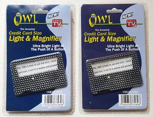 OWL CREDIT CARD SIZE LIGHT & MAGNIFIER (2 PCS. SEALED LOT)