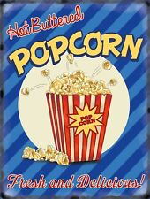 Popcorn American Style 50's Dinner Kitchen Cafe Food Retro, Large Metal/Tin Sign