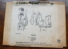 Vintage 1940s German Lyon-Schnitt J1550 Sewing Pattern for a Ladies Waistcoast