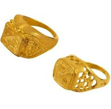 70s 80s Fancy Dress Gold Coloured Metal Rings x 2 Bling Pimp Rapper New