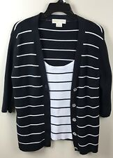 Michael Kors Womens XL Black White Striped 2 in 1 Twinset Sweater One Piece