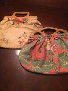 Lot Of 2! AUTHENTIC 1930s BARKCLOTH Bags-handbags W/ Wooden Handles Reversible!!