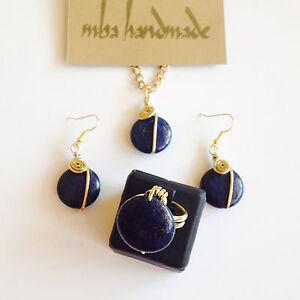 Lapis Lazuli Brass Wire Wrapped Jewelry Set Natural Stone Crystal Healing