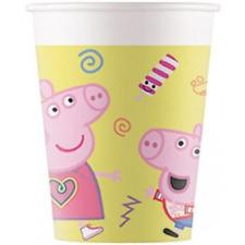 Peppa Pig Birthday Party Cardboard Cups - 8 Pack