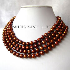 """67"""" 7-9mm Coffee Freshwater Pearl Necklace Strand Off Round Cultured Jewelry U"""