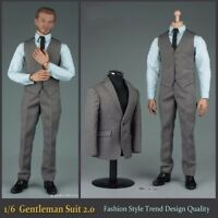 "47VORTOYS 1/6 Scale Gentleman Suit 2.0 Grey Clothes Set For 12"" Figure Male Body"