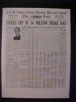 VINTAGE NEWSPAPER HEADLINE~NEW YORK WALL STREET STOCK MARKET CRASH DISASTER 1929
