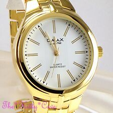 OMAX Designer Stainless Steel Seiko Movt Gold Pltd Gents Mens Dress Watch HBJ811