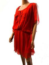Haute Hippie Applique Embellished Red Silk Dress Tunisian Red SIZE-S