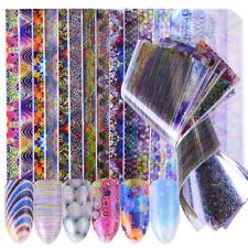 New 16 Pcs Holographic Sticker Foils Bubble Stripe Starry Nail Decals Decor DIY
