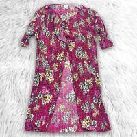 Lularoe  Shirley Crinkle Long Jacket Kimono Floral Pink Textured Cardigan S
