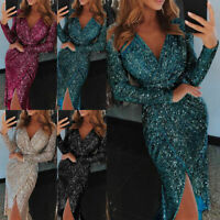 Lady Sequin Long Sleeve V-neck Shimmer Gown Dinner Sexy Dress Casual Fashion New