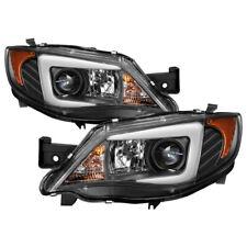 Fit 08-14 Subaru Impreza WRX Black LED Tube Projector Headlights *Factory HID*