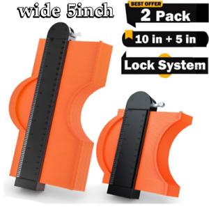 "2 Pack Contour Gauge With LOCK Duplication Profile Tool 5""+ 10"" Saker - USA"