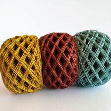 Linen yarn in balls, 3ply thread, crochet weaving yarn, gold ocher,brown,aqua