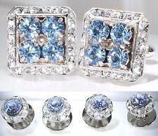 Light Sapphire Tuxedo Square Cufflinks & Round Studs Made/W Swarovski Crystals
