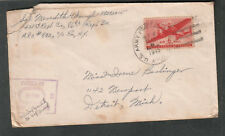 1945 WWII censor cover Sgt Meredith Waugh 86th Repl Bn APO 872 Tongres Belgium ?