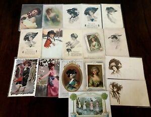 Lot of 17 Pretty Ladies ~Vintage Lady Women Antique Postcards-h247