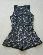SEXY ATMOSPHERE BLACK LACE SLEEVELESS FITTED SHORTS MINI PLAYSUIT SIZE 12 BNWT