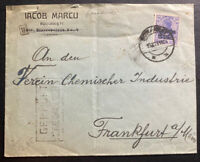 1919 Bucarest Romania Germany Occupation Commercial Cover To Frankfurt