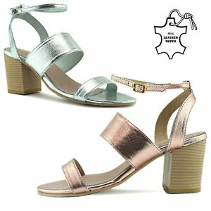 Womens Leather Sandals Ladies Gladiator Summer Holidays Espadrille Block Heel UK