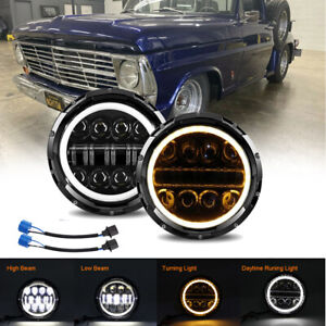 "Pair DOT 7"" Round LED Headlight Halo For Ford F-100 F-250 F-350 Pikcup 1969-1974"