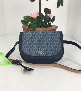 New Michael Kors Belt Bag Crescent Shaped Denim Blue Leather Flap & Snap S/M B2N