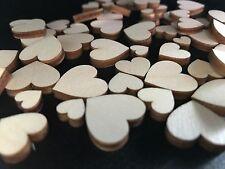 100 Streudeko 3 Größen Holz Herz Tischdeko Dekoherzen Streuteile Hell Blanco