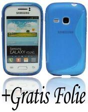 Samsung Galaxy Young Duos S6312 Schale Handyhülle Handytasche+ Schutzfolie BLAU