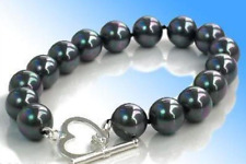 """12mm Black South Sea Shell Pearl Round Beads Bracelets 7.5 """" Aaa"""