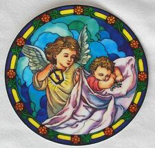 GUARDIAN ANGEL W/ BABY vinyl Catholic Window Decal like stained glass reusable