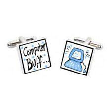 Computer Buff Cufflinks by Sonia Spencer, Hand painted, RRP £20!