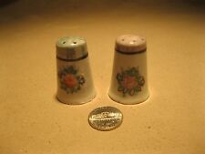 Vintage Rose Bouquet Short Column Lusterware Top Salt and Pepper Shakers 6