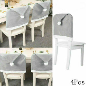 4pcs Christmas Santa Hat Dining Chair Back Covers Party Xmas Chair Table Decor