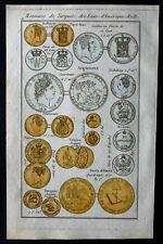 1830 - Gravure numismatique : Monnaies de Turquie, des états unis,angleterre...