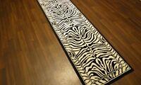 ZEBRA PATTERN BLACK WHITE BELGIUM MADE RUGS BLACK AND WHITE RUNNERS 60X225CMS